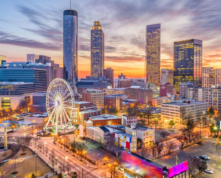 City of Atlanta at night; night view of Atlanta