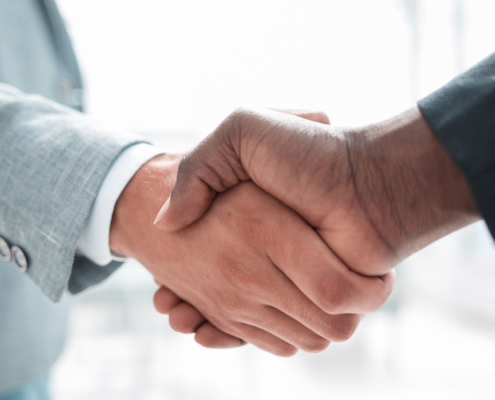 Two professionals shaking hands